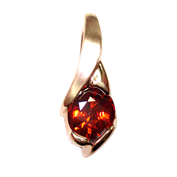 """Sunset Adventure"" Ladies pendant. Unusually colored dark red-orange 3.15 carat oval Spessarite Garnet, channel set in warm 18 karat peach gold."