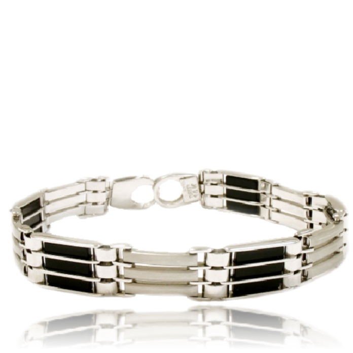 """""""Caged"""" – Solid Italian bracelet with """"caged"""" Black Onyx, set in 14k white gold."""