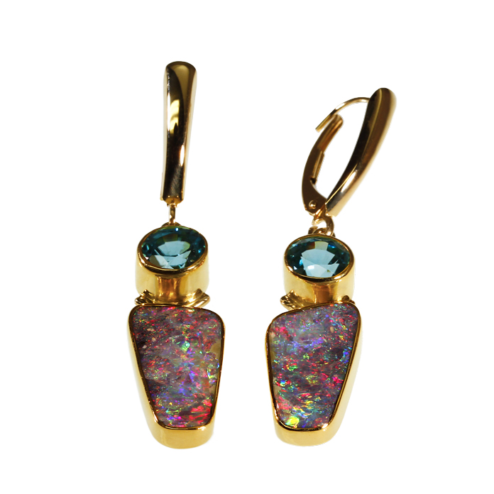 """Lost in the Caribbean"" dangle earring, Hand-cut Australian Boulder Opals, 1.94 total carats, with a 1.94 carat Blue Zircon, set in 22k & 14k yellow gold."