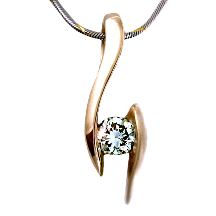 """Diamond Caress II"" pendant — Round brilliant cut Diamond, .27cts, set in 18k rose gold"