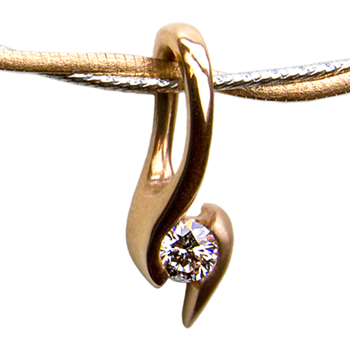 """Caress III"" pendant — Round brilliant cut Diamond, .28cts, set in 14k rose gold."
