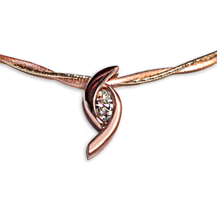 """Rose Whirlpool"" ladies pendant — Marquise Diamond, .39cts, set in 14k rose gold. Shown on an Italian Twisted Omega, 14k rose gold. Available in 17"", 18"" and 20"" lengths."