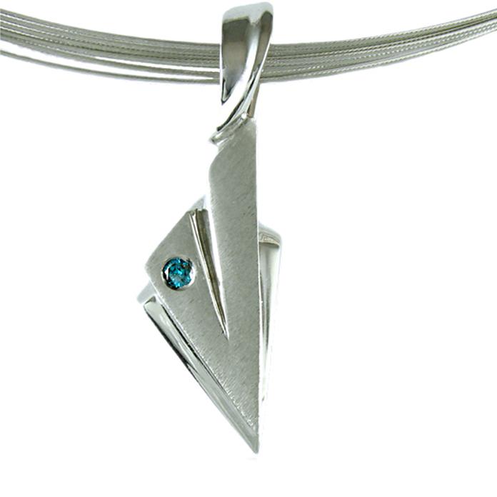 """Diamond Arrow"" slide pendant - Color enhanced blue brilliant cut Diamond, .05cts, set in 14k white gold."