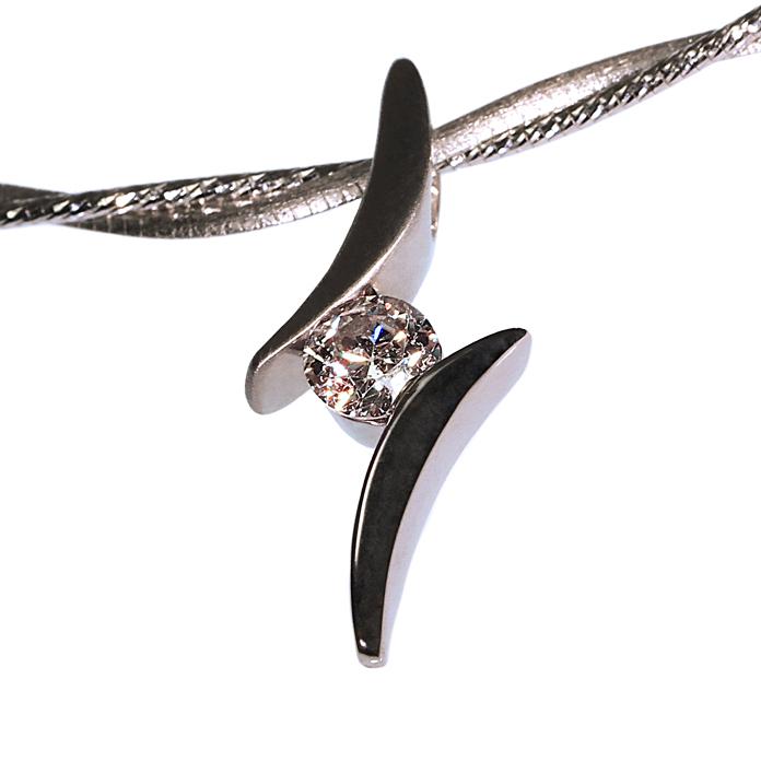 """Lady Finger"" ladies pendant, Round Brilliant Diamond, .57cts, set in 14k white gold."