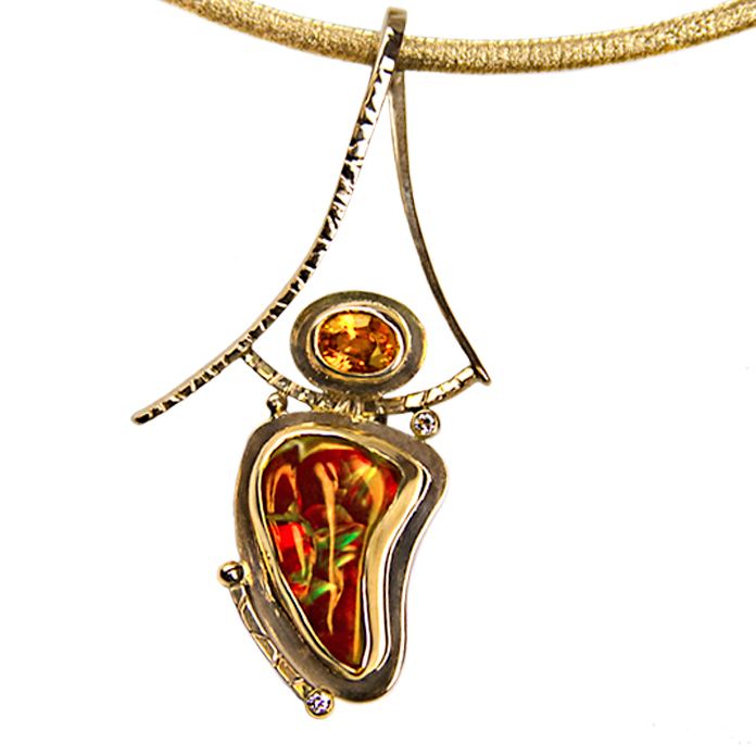 "#KPY-FA-SG-1751 - ""Autumn Sun"" Ladies Pendant, Fire Agate =10.4cts, Spessertite Garnet =1.44cts, 2 accent diamonds =.04cts, 14/18KYG"