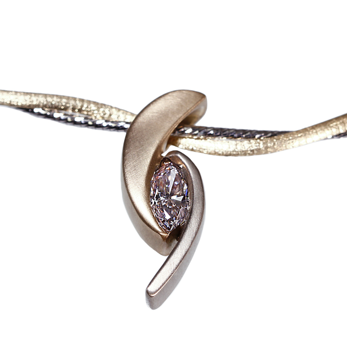 """Marquis Crescent"" ladies pendant, Marquis cut Daimond, .52cts, set in 14k yellow & white gold."