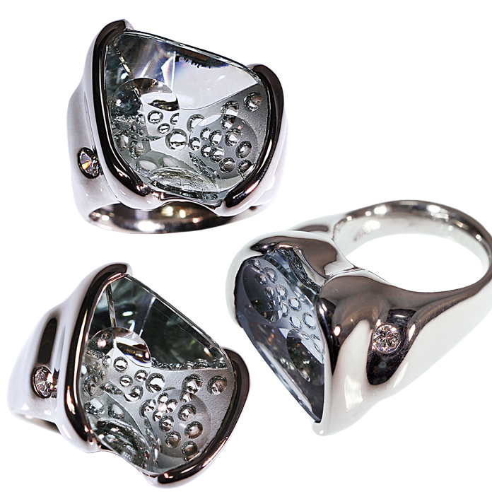 """Aqua Dispersion"" ladies ring, Optic Dish cut Aquamarine by Michael Dyber, set in 14k white gold with one .12ct diamond."