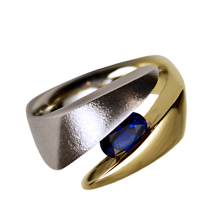 """Blue E-Line"" men's ring — Oval cut Ceylon Sapphire, 1.40cts, set in 18k and 14k white & yellow gold."