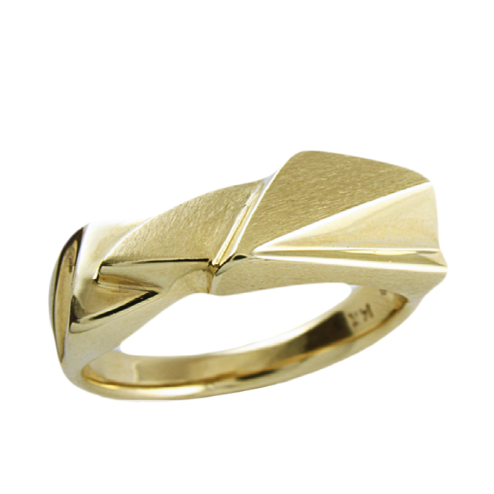 """Golden Shards"" - Solid hand-crafted gent's band, 14k yellow gold."