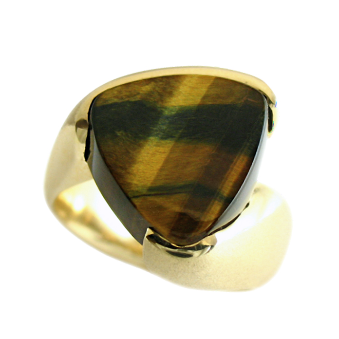 """""""Tiger's Eye"""" - Hand-cut African Tiger Eye gent's ring, set in 14k yellow gold."""