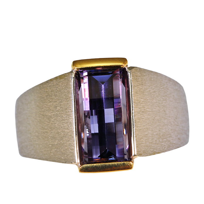 """Tanzaprism"" men's ring — Opposes bar cut Tanzanite, 3.92cts, set in 18k yellow and 14k white gold."