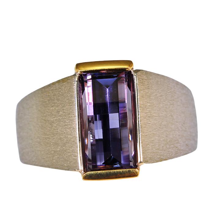 """Tanzaprism"" men's ring — Opposes bar cut Tanzanite, 3.92cts, set in 18k yellow and 14k white gold."