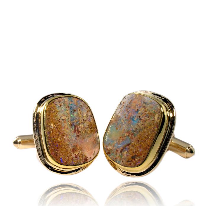 """""""Desert Sands"""" – Hand-cut Australian Boulder Opal cufflinks, hand-fabricated in 18k and 14k yellow gold."""