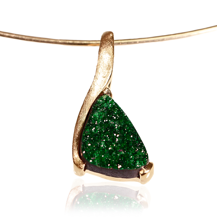 """Petite Green"" ladies slide pendant, Uvarovite Drusy, 13x9x3.5mm, set in 14k yellow gold."