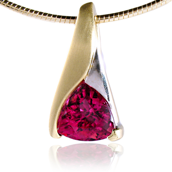 """Pink Blaze"" slide pendant - Trillion cut Pink Tourmaline, 3.72cts, set in 18k yellow gold with rhodium."