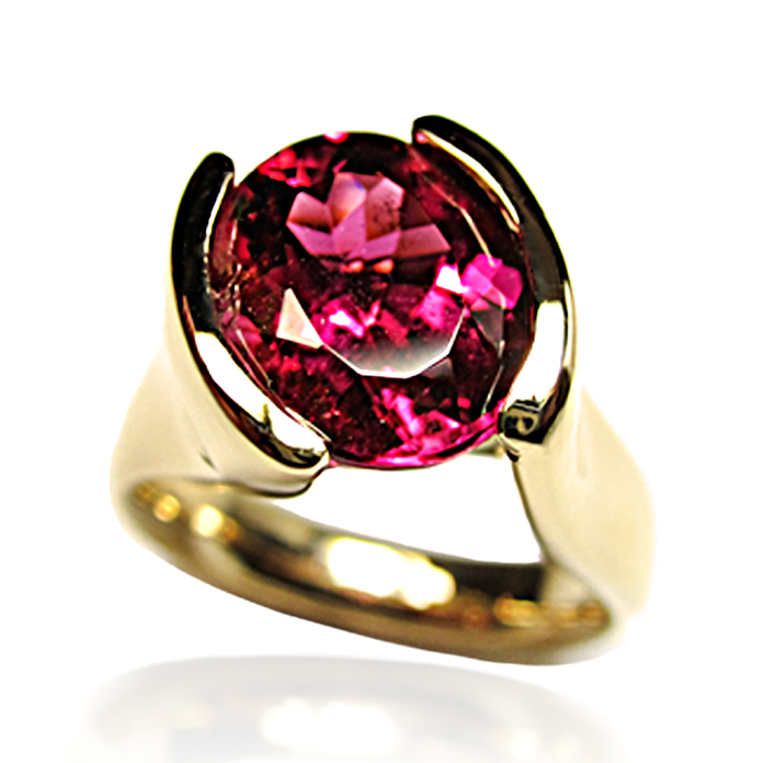 """Elegant Channel"" ladies ring — Breathtaking Rare Red Tourmaline, 3.88cts, 10.8x9x6mm, set in 18k yellow gold."