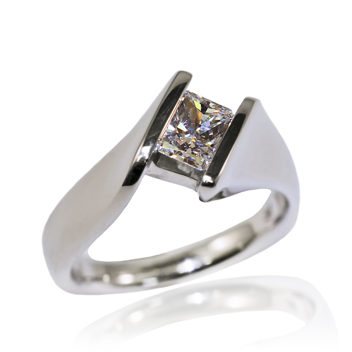 """Straight Princess"" ladies ring, Princess cut Diamond, .72 carats, set in 14k white gold."