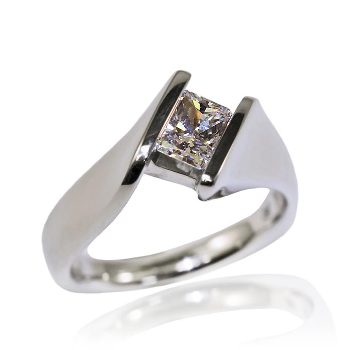 """Straight Princess"" ladies ring, Princess cut Diamond, .72 carats, set in 14k white gold."
