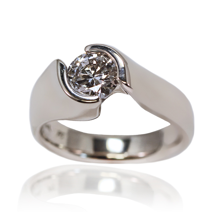 """Elegant Channel"" ladies ring — Round Brilliant cut Diamond, 1.03cts, set in 14k white gold."