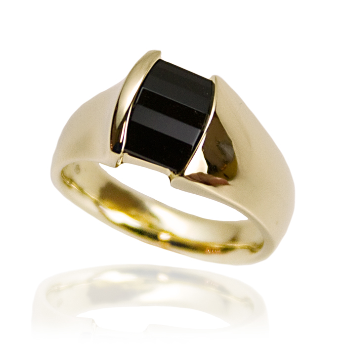"""Roll-top Onyx"" men's ring — Opposed bar cut Black Onyx, 14x10mm's, set inset in 14k white gold."