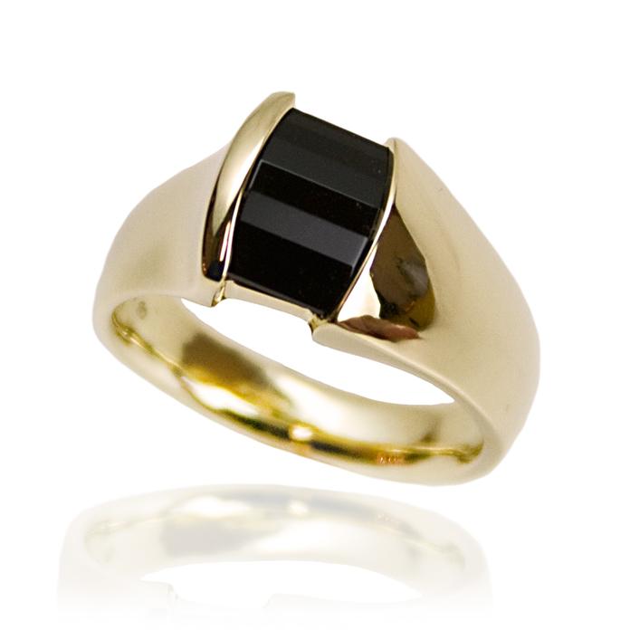 """Roll-top Onyx"" men's ring — Opposed bar cut Black Onyx, 14x10mm's, set inset in 14k white gold."