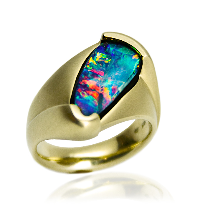 "#KRY-BO-817 – ""Opal Freedom"" One-of-kind Australian Boulder Opal Gents Ring, Opal =19.8mmx9mm, 18KYG. Damian Koorey, Goldsmith Designer"