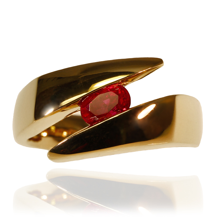 """Ruby E-Line"" men's ring — Burmese Ruby, 1.01cts, set in 14k yellow gold."