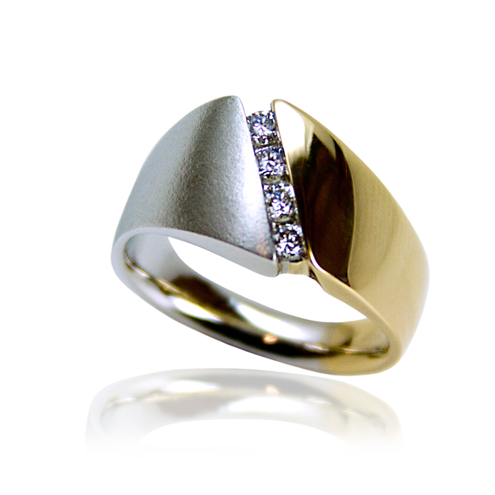 """""""Diagonal Channel"""" men's ring —Four round cut Diamonds, .32cts, set in 14k yellow and white gold."""