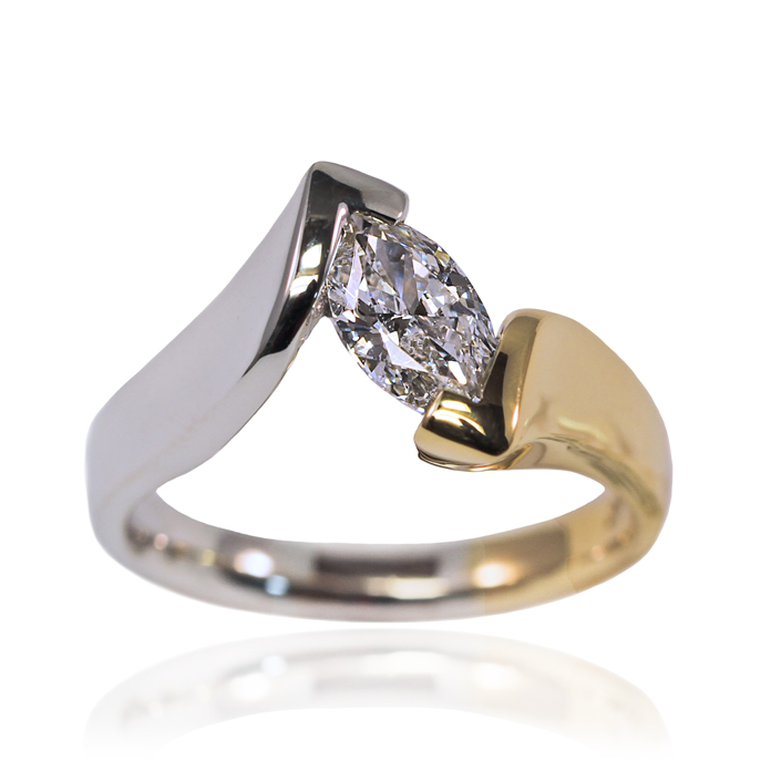 """Elegant Marquis"" ladies ring, Marquis cut diamond, .71cts, set in 18k yellow and 14k white gold."