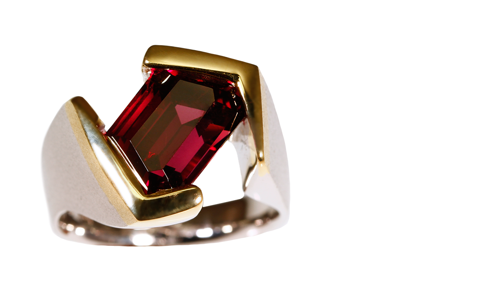 """Trapezoid Red"" Men's Ring"