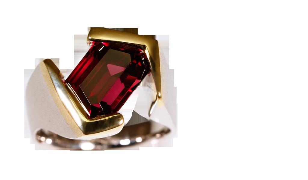 KRYW-RG-1031 Trapezoid Garnet Gents Ring
