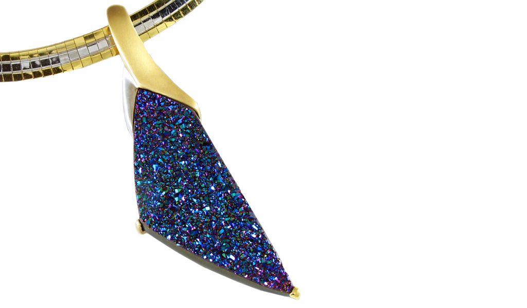 """Rainbow Freedom"" pendant - Hand-cut Rainbow Drusy, 31.80cts, set in14k yellow gold/Rhodium accent."