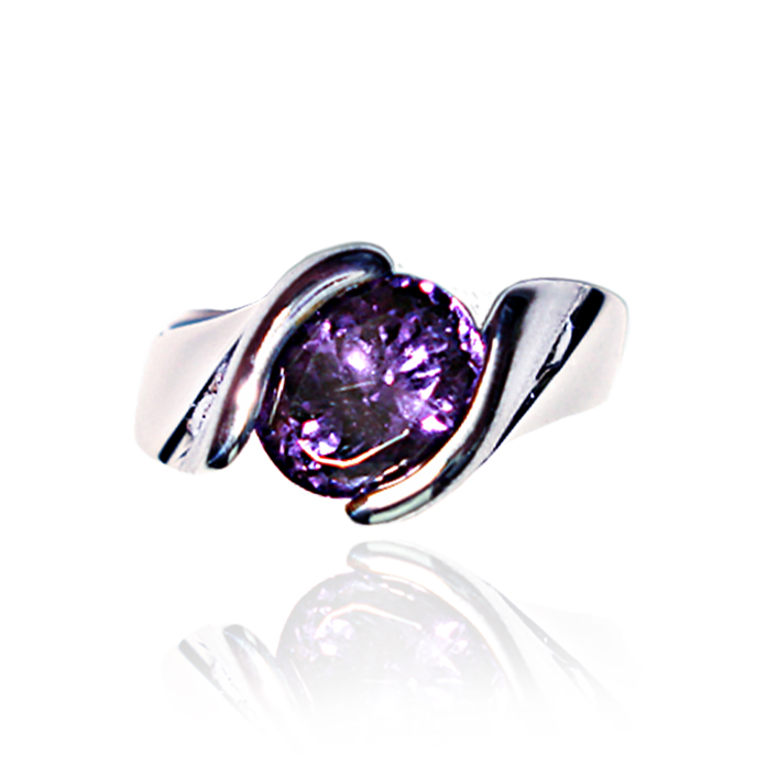 "#KRW-PPSL-D-1082 - ""Spinel Elegant Channel"" Ladies Ring, Spinel =2.42ct, 6 channel-set round diamonds =.18ct tw, SI-G-H, 14KWG."