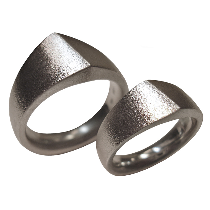 "#KRSS-5075 – ""Angled Band"" Ladies Ring in SS #KRW-217 ""Angled Band"" – Gents Ring in 14KWG"