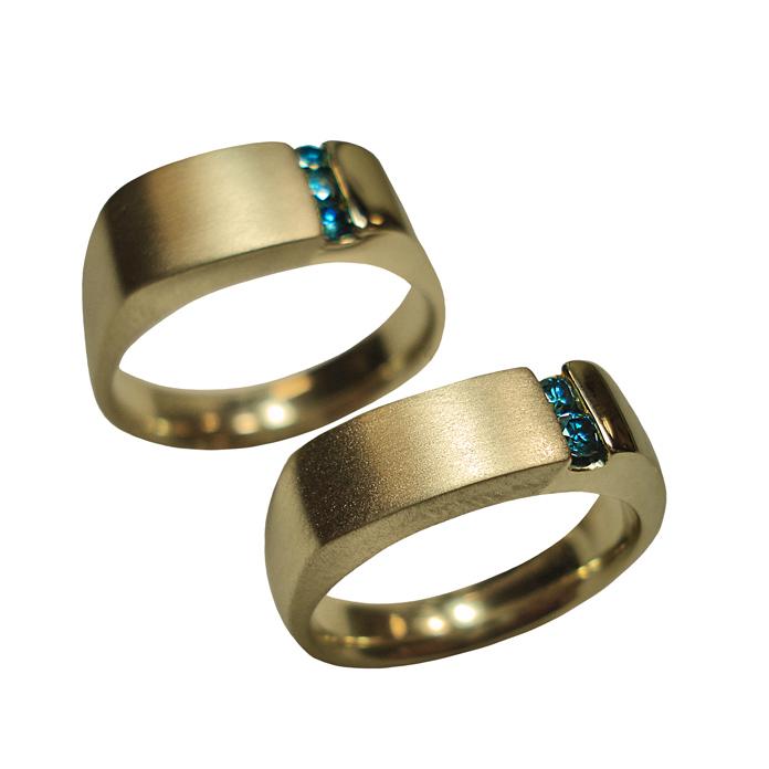 "#KRY-BD-1005 – ""Offset Channel"" Ladies Blue Diamond Ring =.15ct tw, 14KYG #KRY-BD-1065 – ""Offset Channel"" Gents Blue Diamond Ring =.14ct tw, 14KYG"