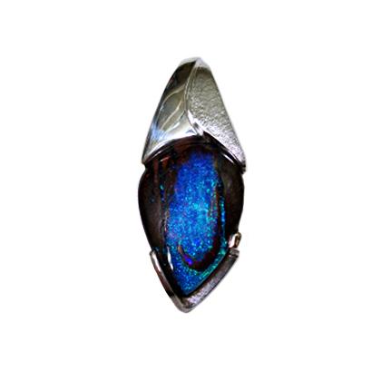 """#KPSS-BO-2206 – """"Deep Blue Secrets"""" Australian Boulder Opal =30.13cts (24x17x8.9mm), SS"""