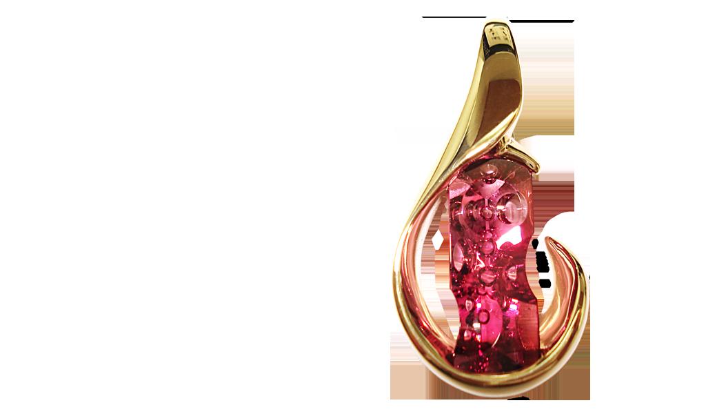 "KPY-PT-2282 ""Spheres Pendant"" Michael Dyber Pink Tourmaline=16.24 carats, 18KYG"