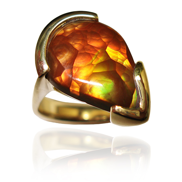"#KRY-FA-711 – ""Fire Agate"" Gents Ring, agate =7.50cts, 18KYG"