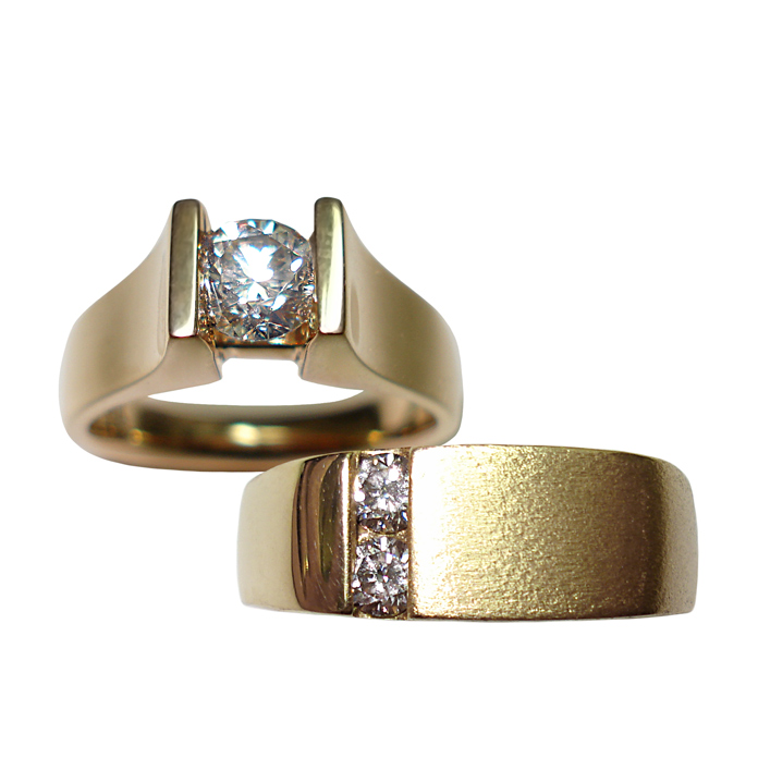 """#KRY-D-5024 """"Straight Suspended Channel"""" Ladies Diamond Ring =.72ct VVS2-F, 18KYG #KRY-D-684 """"Offset Channel"""" Gents Diamond Ring =.30ct tw, 18KYG"""