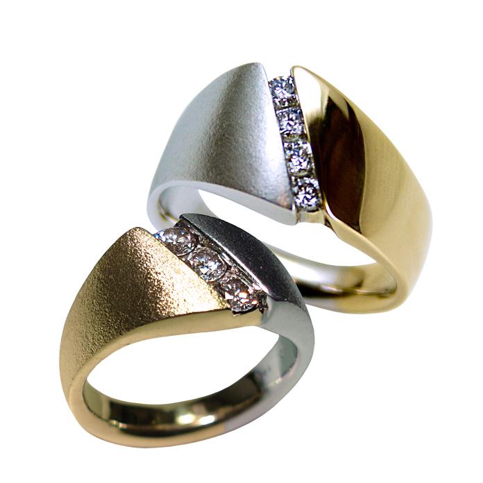 "#KRYW-D-1164 – ""Diagonal Channel"" Ladies Diamond Ring =.30ct tw SI-1-G 14k Two-Tone, Limited edition #KRYW-D-1085 – ""Diagonal Channel"" Gents Diamond Ring =.40ct tw 14k Two-Tone, Limited Edition"