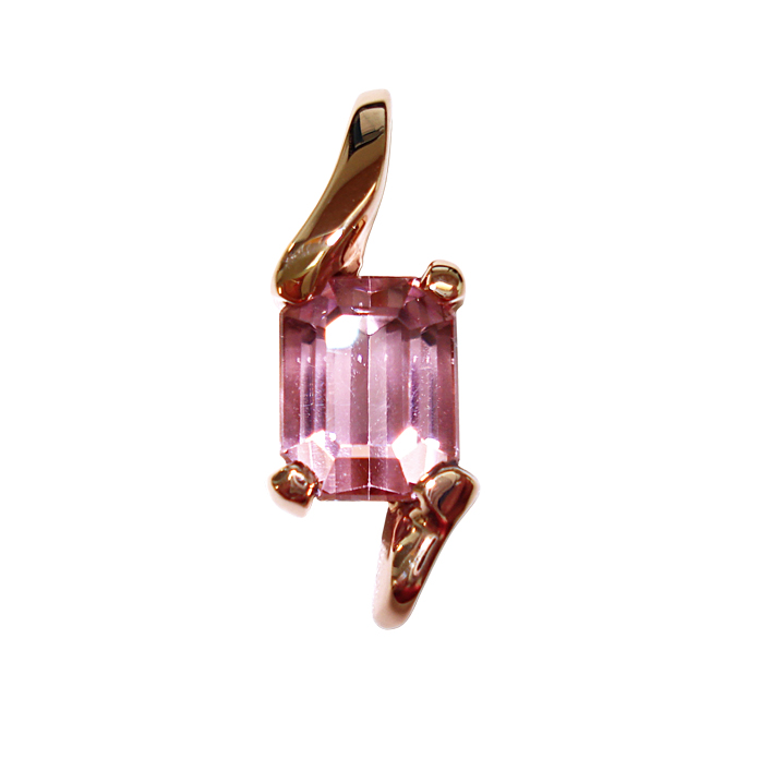 "#KPR-KU-2260 – ""Lilac Lady"" Pendant, emerald-cut Kunzite = 4.50cts, 14K Rose Gold. Grace Koorey, Designer/Goldsmith."