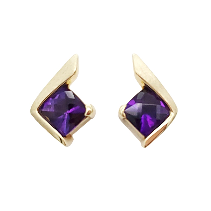 "#KEY-AM-1460 ""Amethyst Partial Channel Post"", ladies earrings, Square Checkerboard Amethyst weighing 4.60cts, 14KYG"