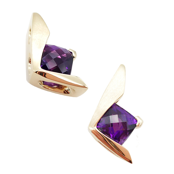 "#KPY-AM-2300 ""Amethyst Suspended Channel"" ladies pendant, Square Checkerboard Amethyst = 7.16cts, 14KYG"