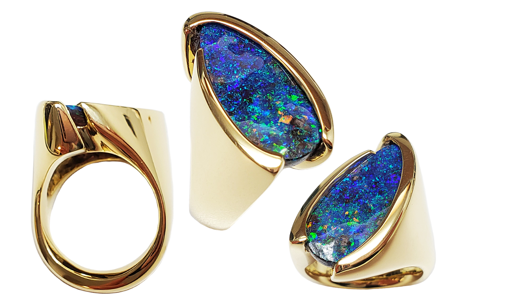 "Item #KRY-BO-1173 Ladies Ring ""Deep Blue"" Australian Boulder Opal, 7.42cts, 18KYG"