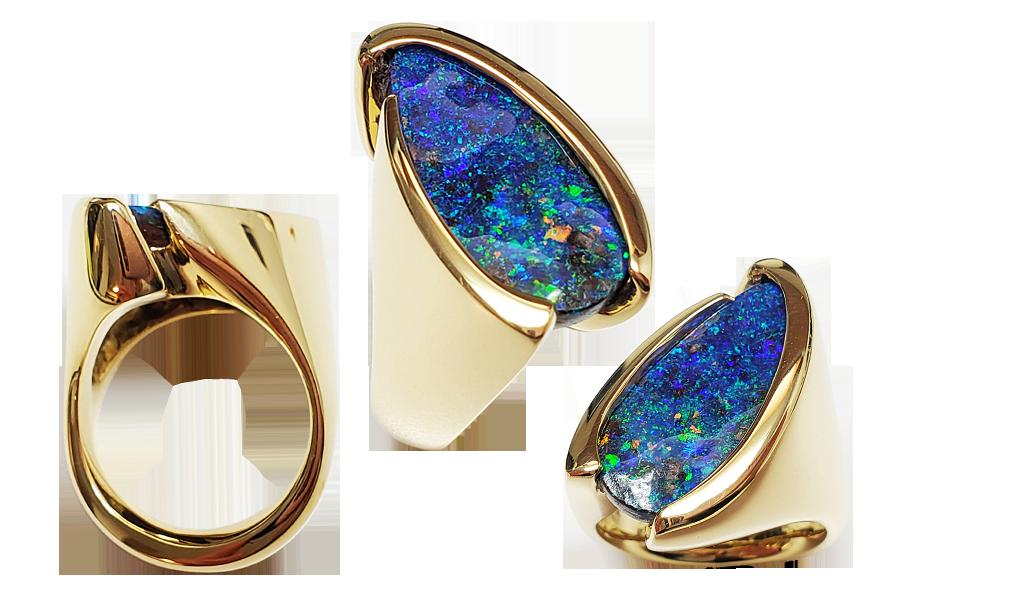 """Item #KRY-BO-1173 Ladies Ring """"Deep Blue"""" Australian Boulder Opal, 7.42cts, 18KYG"""
